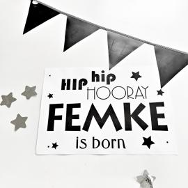 Poster Hip Hip Hooray , Born met eigen naam |  A3 formaat
