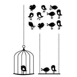 Muursticker Vogels in kooi en schommel