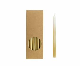 Dunne potloodkaarsjes | Wit met gouden dip | 20 stuks