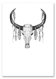 Kaart zwart wit Skull catcher met glans  | Jots