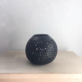 Kokosnoot waxinehouder stippen zwart  |  Maat L