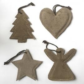 Kerst hangers, Canvas, set van 4