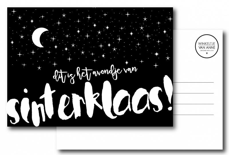Dit is het avondje van Sinterklaas   A6 kaart     Winkeltje van Anne