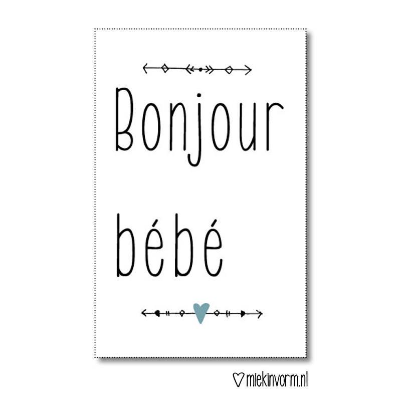 Mini kaart Bonjour Bebe|  Miek in Vorm