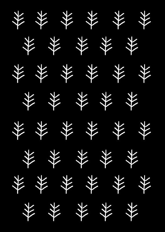 Kaart Xmas print zwart