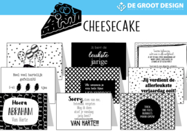 Cheesecake hele serie incl. display, topkaart, backcards