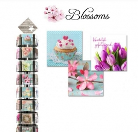 Blossoms 12x13,5 cm hele serie incl. display, topkaart, backcards
