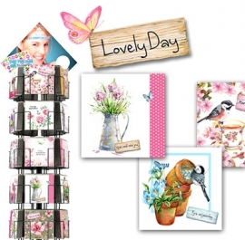 Lovely Day 15x15cm hele serie incl. display, topkaart, backcards
