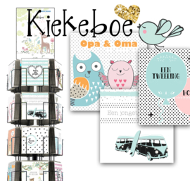 Kiekeboe 15x15cm hele serie incl. display, topkaart, backcards