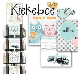 Kiekeboe 15x15cm hele serie incl. display, topkaart, backcards