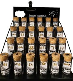 Complete display met 24 buisjes oorbellen - rvs goud