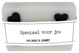 114 luxe zeep met hartjes 6x8 cm Patchouli & Gember Speciaal voor jou v.e 3