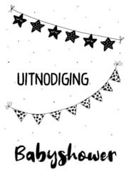 Uitnodigingen Z/W 102  Babyshower v.e 3 stuks