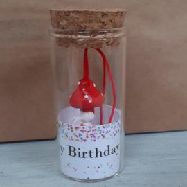 Glazen buisje met gelukspoppetje 123 Happy Birthday v.e 2 stuks