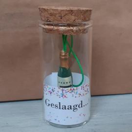 Glazen buisje met gelukspoppetje 105 Geslaagd....topper v.e 2 stuks