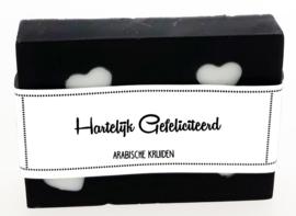 101 luxe zeep met hartjes 6x8 cm Arabische kruiden Hartelijk Gefeliciteerd v.e 3