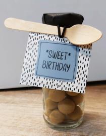 Flesje chocolade Sprinkels 412 *Sweet* birthday