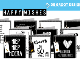 Happy Wishes - hele serie 15x15 cm incl. display, topkaart, backcards