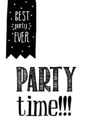 Uitnodigingen Z/W 105  Partytime  v.e 3 stuks