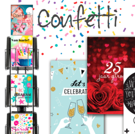 Confetti A4 formaat (Maxi) hele serie incl. display, topkaart, backcards