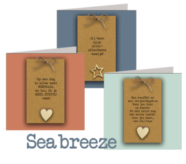 Seabreeze 15x15 cm hele serie incl. 40 vaks display, topkaart, backcards