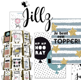 Jillz 15x15 cm hele serie, incl display, topkaart, backcards