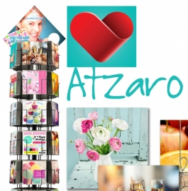 Atzaro postkaarten hele serie incl. display, topkaart, backcards