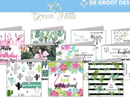Green Hills 15x15 cm hele serie incl. display, topkaart, backcards