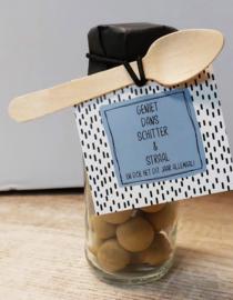 Flesje chocolade Sprinkels 406 Geniet dans schitter en straal...