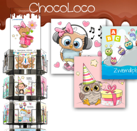 Chocoloco 15x15cm hele serie incl. display, topkaart, backcards