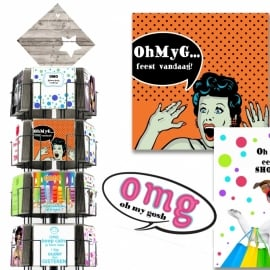 OMG 15x15 cm hele serie incl. display, topkaart, backcards