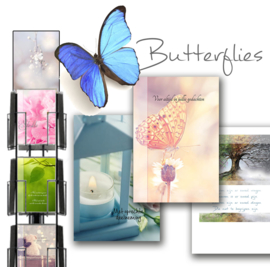 Butterflies 11x17cm hele serie incl. display, topkaart, backcards