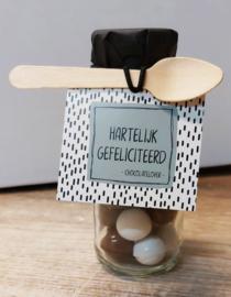 Flesje chocolade Sprinkels 402 Hartelijk gefeliciteerd - chocolatelover -