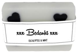 109 luxe zeep met hartjes 6x8 cm Eucalyptus & Mint Bedankt v.e 3