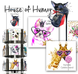 House of Humor 15x15cm hele serie incl. display, topkaart, backcards