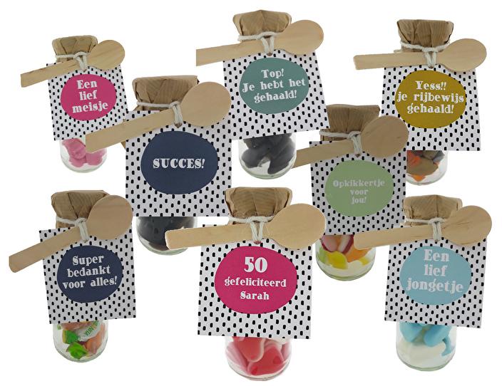 snoepflesjes met kraft dop en label