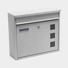 Design brievenbus zilver - afsluitbaar /  36 x 32 x 11,5 cm
