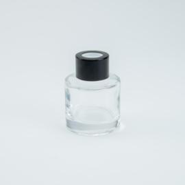 Parfumflesje Rond - Transparant met Zwarte Dop - 50 ml