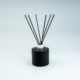 Set Groot Parfumflesje Rond + geurstokjes | Zwart met Zilverkleurige Dop - 200 ml