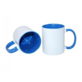 Blauwe 11 oz. Mok Wit met gekleurde binnenkant & oor - AA Kwaliteit