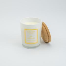 Geurkaars Middel - Wit glas met een deksel van kurk - Jasmijn geur