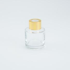 Parfumflesje Rond - Transparant  met Goudkleurige Dop - 50 ml