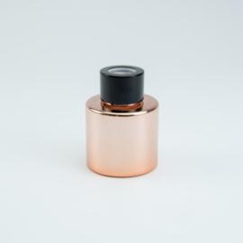 Parfumflesje Rond - Rosé Gold met Zwarte Dop - 50 ml