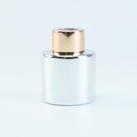 Parfumflesje Rond - Zilver met Rosékleurige Dop - 50 ml