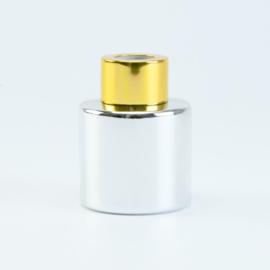 Parfumflesje Rond - Zilver met Goudkleurige Dop - 50 ml
