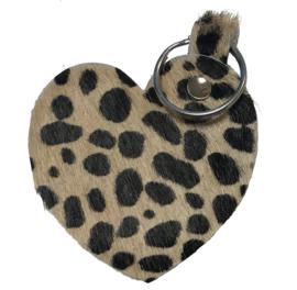 Leren sleutelhanger 'Hart' - Baby Cheetah Beige