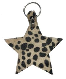 Leren sleutelhanger 'Ster' - Baby Cheetah Beige