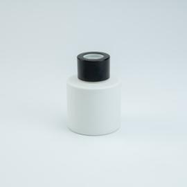 Parfumflesje Rond - Wit met Zwarte Dop - 50 ml