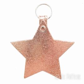 Leren sleutelhanger  'Ster' - Rosé Gold
