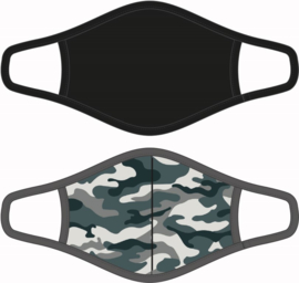 Mondkapje / Mondmasker  Heren - Camouflage / Zwart - Maat M  - per 2 stuks